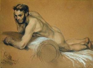 Pintura a óleo pelo pintor alemão Adolf von Menzel